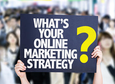 Whats Your Online Marketing Strategy? card with crowd of people on background